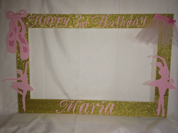 booth frame to take pictures royal princess baby shower pink gold