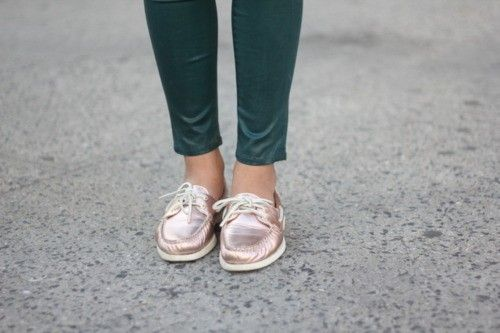 Sperry top sider boat shoes, Rose gold