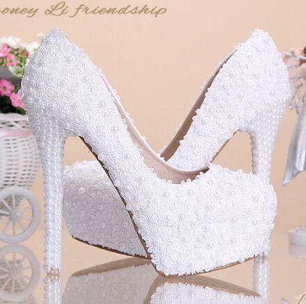 2321f7266a Bombas de boda blanco Dulce flor blanca de encaje plataforma de tacón alto  de la bomba zapatos de la boda de la perla zapatos de novia vestido de  encaje de ...