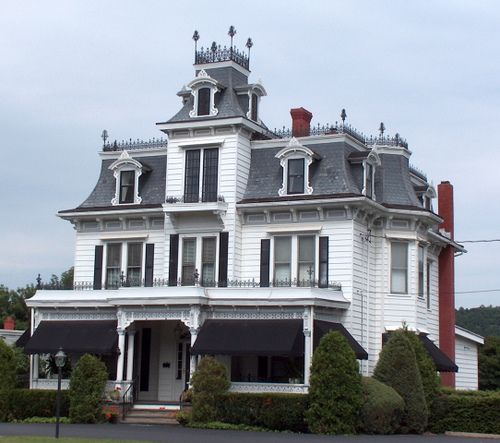 White victorian second empire house gothic victorian for Historic second empire house plans
