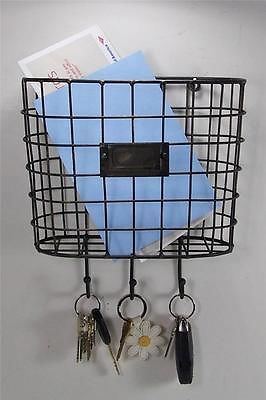 Metal Wire Basket Wall Pocket Mail Holder Organizer With Key Holders Baskets On Wall Wall Pocket Organizer Wall Pockets