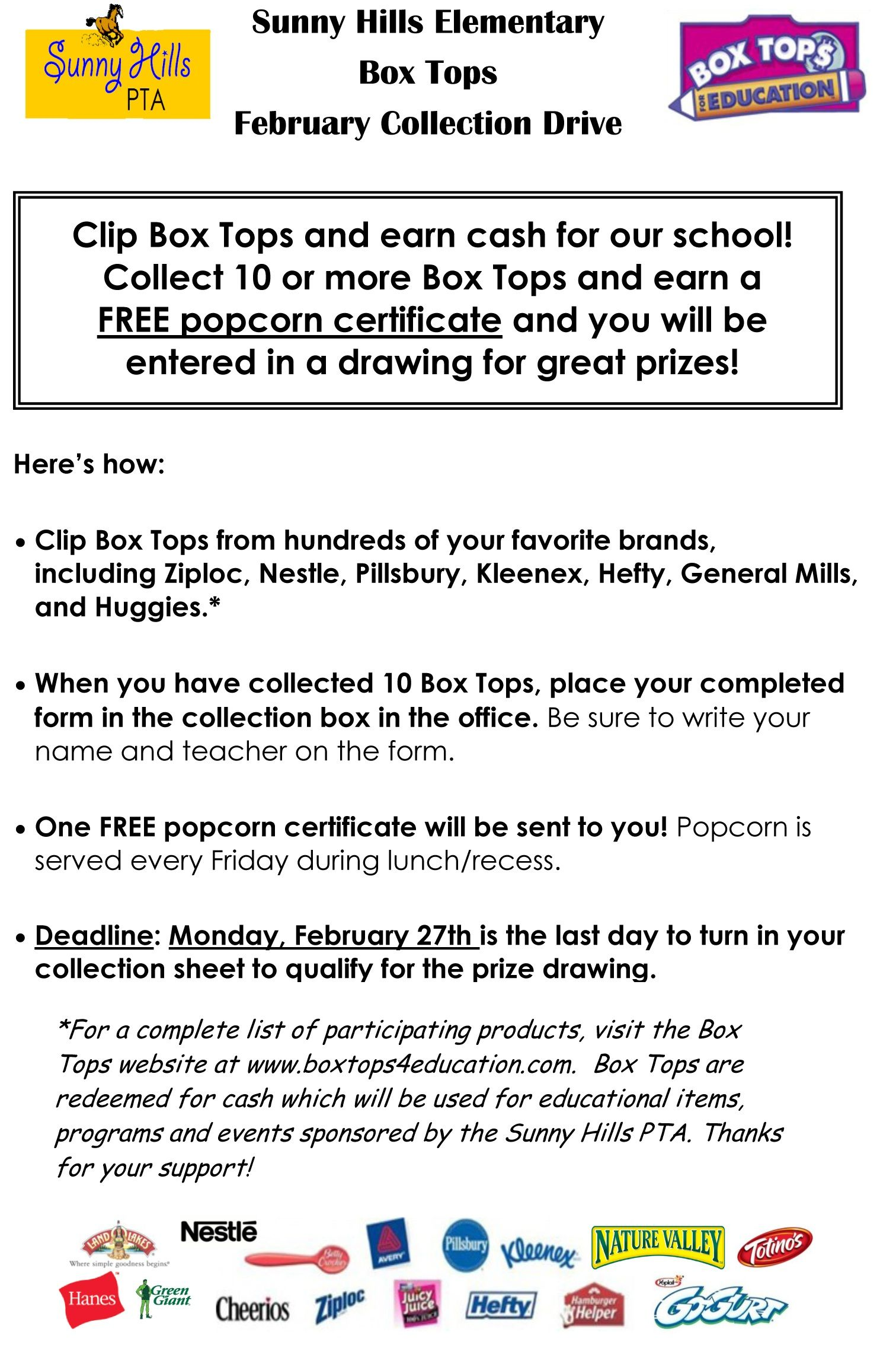 Collect Those Box Tops Idea for Box Tops collection