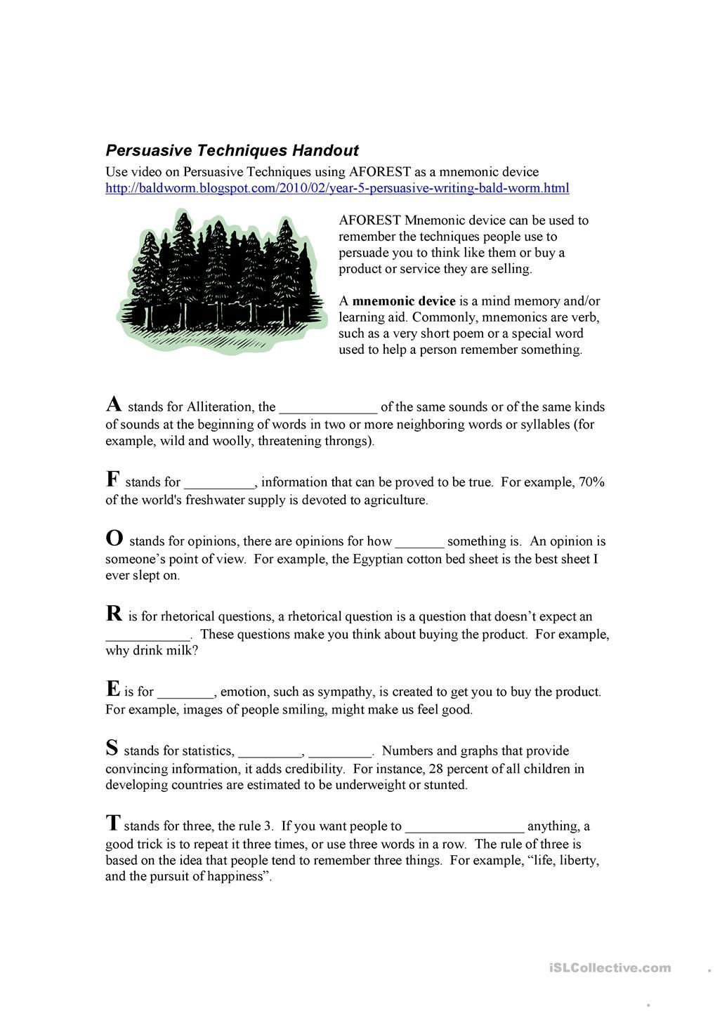 worksheet Planet Earth Freshwater Worksheet aforest persuasive techniques esl worksheets of the day techniques