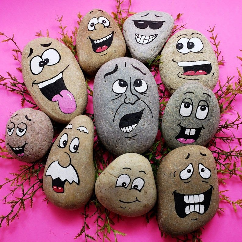 Downloadable Silly Faces Group 1 Rock Painting Tutorial