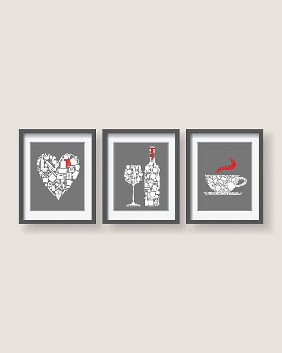 Black And White Kitchen Wall Decor Set of 3 Grey White with red accent Kitchen decor by BlackPelican