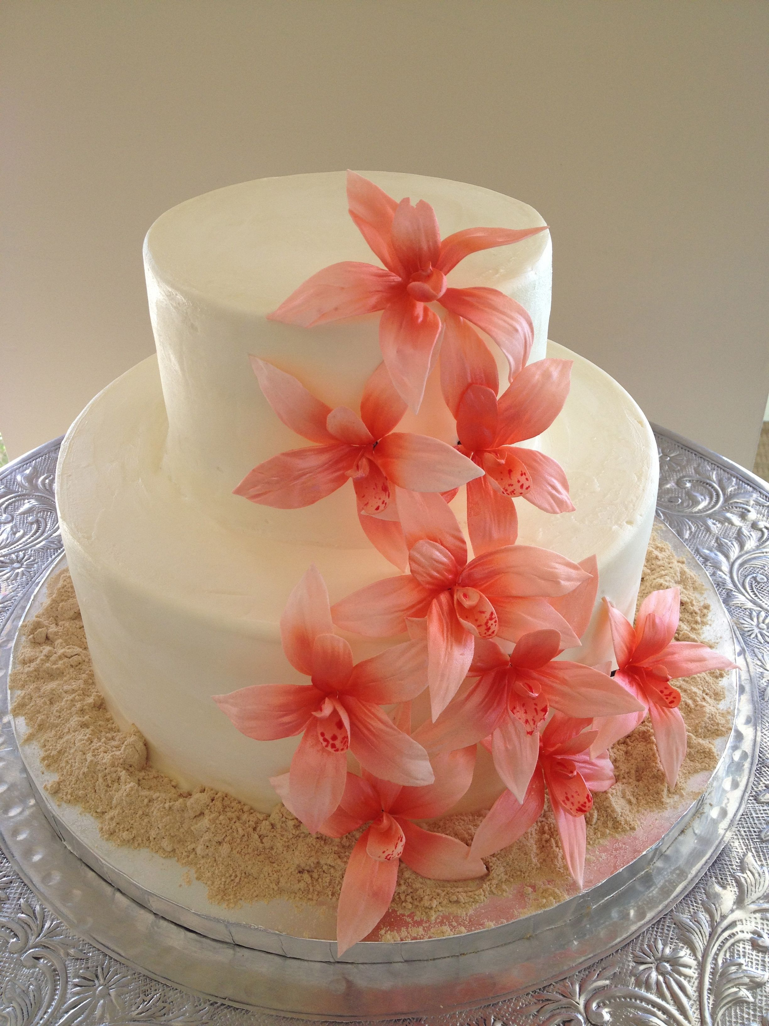 Coral Gumpaste Orchids With Sand Wedding Cake