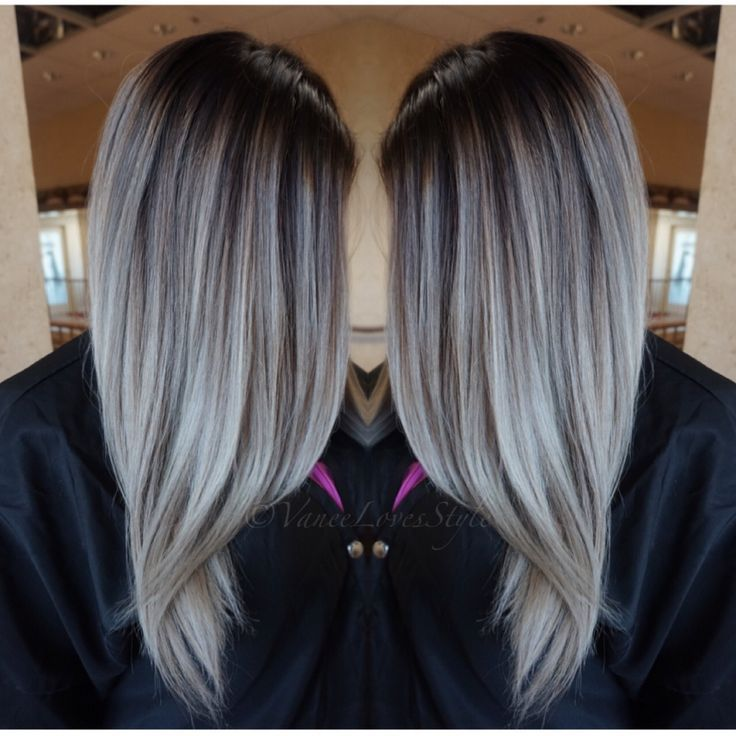 Graue haare ombre grey hair balayage dyed hair for Ombre hair haarfarbe