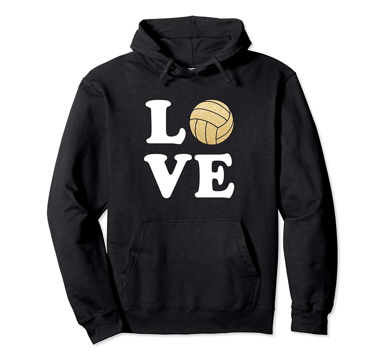 Womens Love Volleyball Hoodie Sweater Sport Gold Glitter Colonhue Sweater Hoodie Hoodies Sweaters