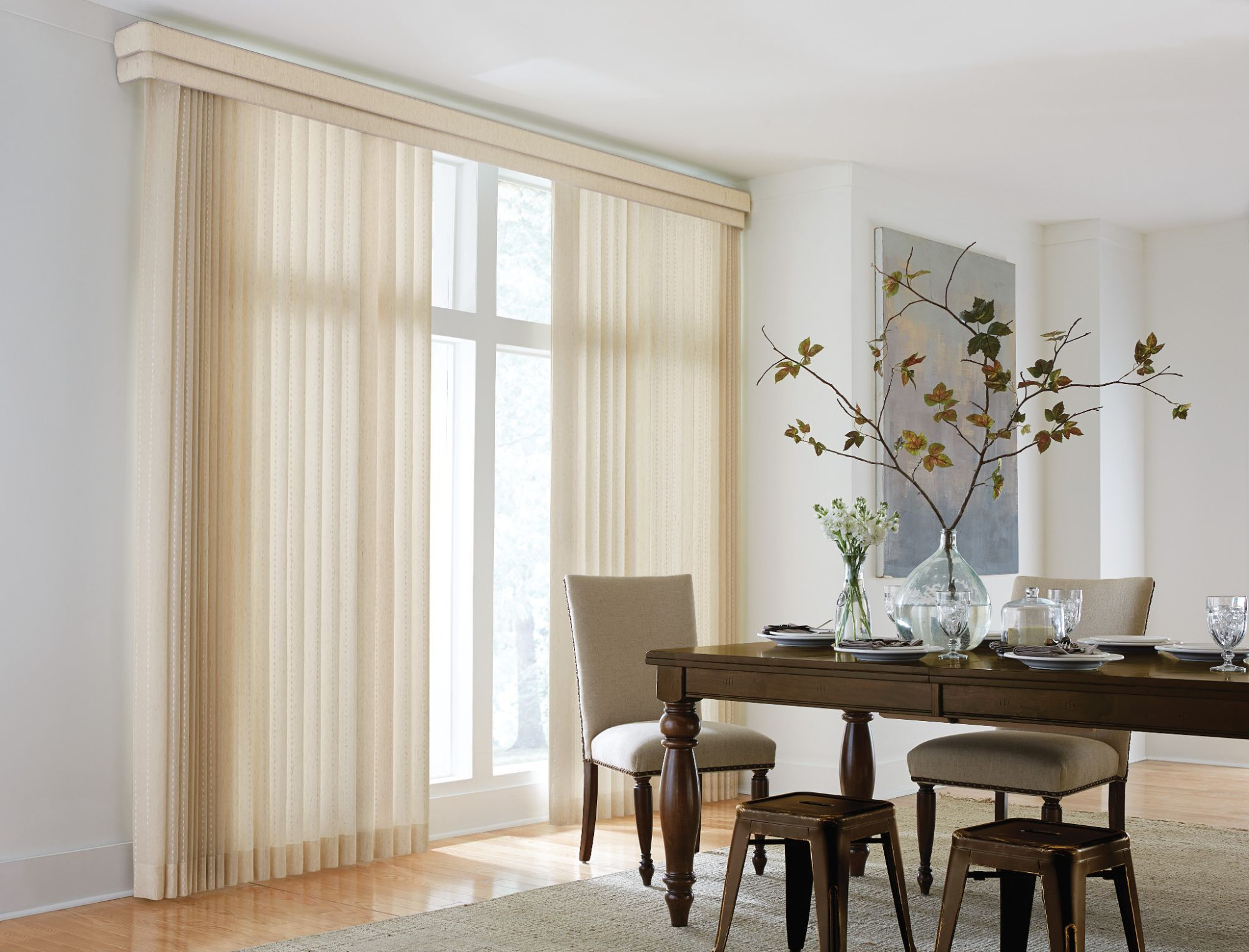 Sheer Vertical Blind Cascade, Champagne 2080; Double