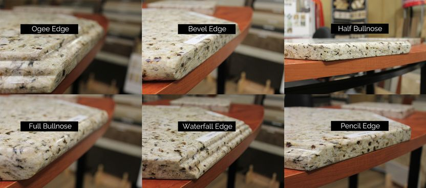 Six types of granite edge profiles
