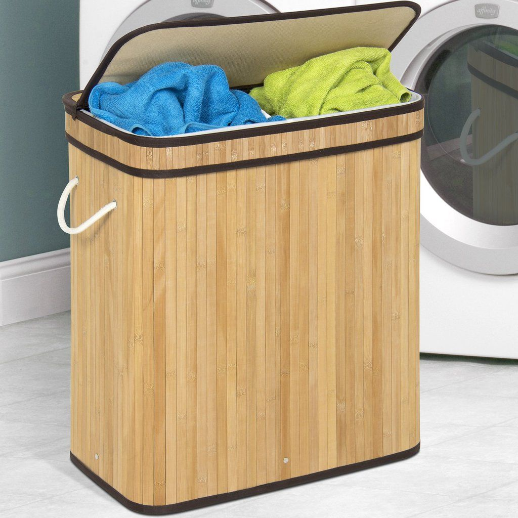 Double Laundry Bamboo Hamper Laundry Hamper Wicker Basket With
