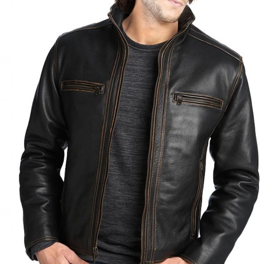 New Handmade Men's Black Fashion Leather Jacket in 2020