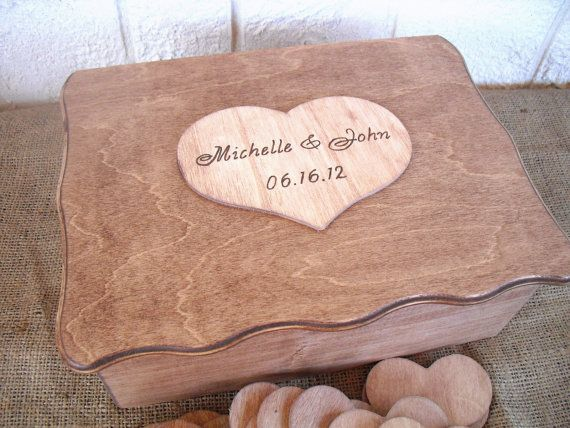 Rustic Wedding Scalloped Wood Box by dazzlingexpressions on Etsy, $153.00