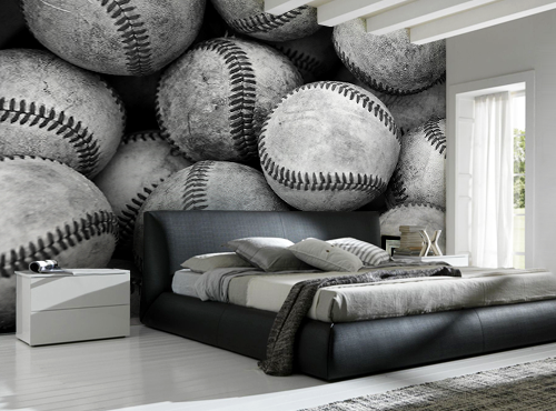 Best Baseball Bucket Wall Mural Baseball Bedroom Decor Kids 640 x 480