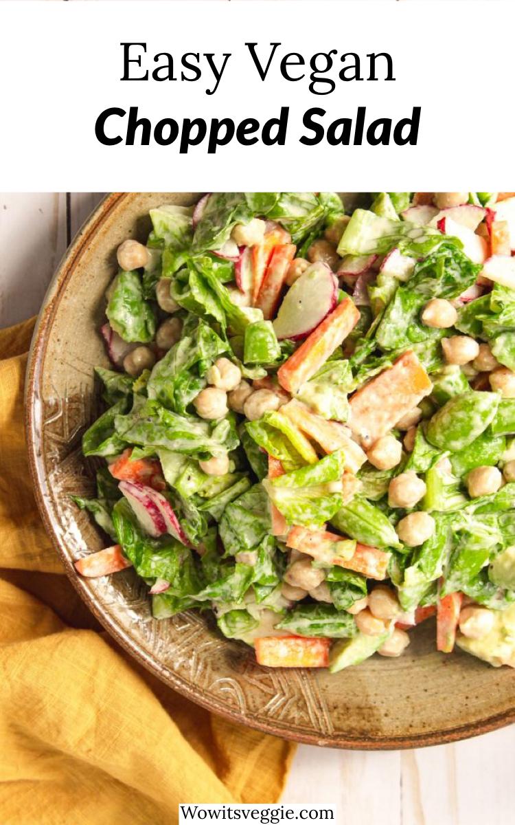 Easy Vegan Chopped Salad Gluten Free Wow It S Veggie Recipe In 2020 Vegan Recipes Easy Chopped Salad Easy Vegan