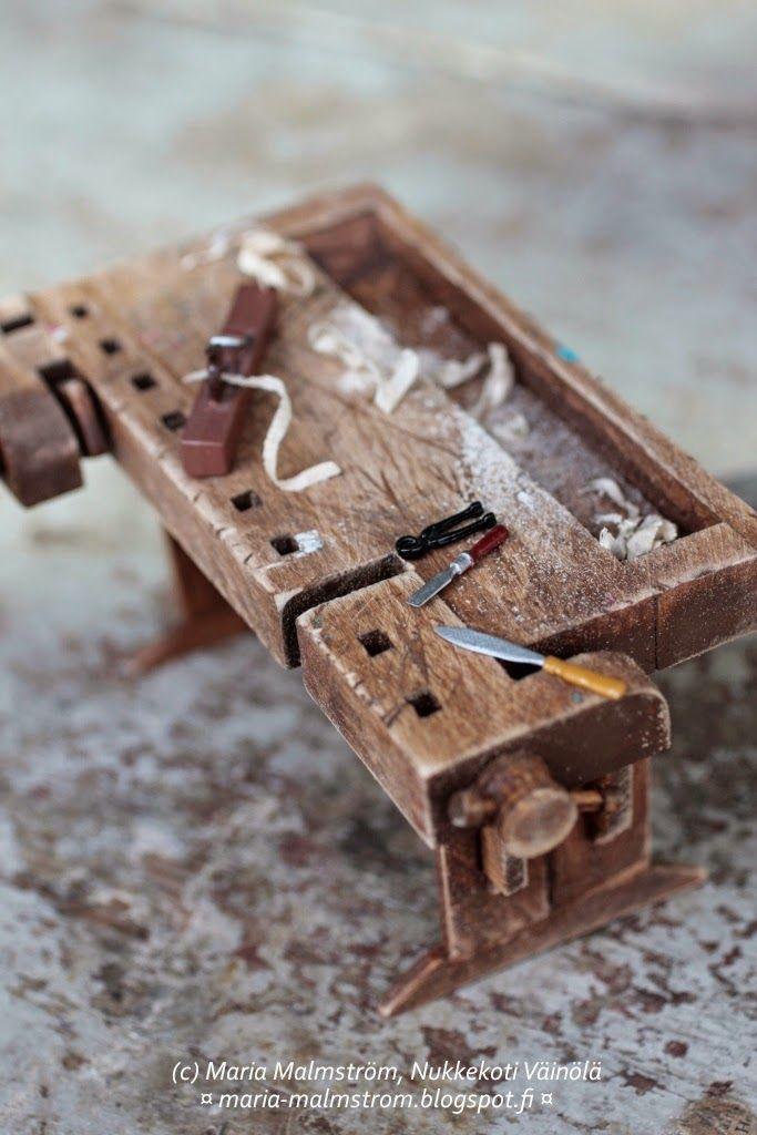 miniature dollhouse furniture woodworking. Nukkekoti Väinölä : Markkinakoriin - Miniature Woodworking Bench · Making DollsDollhouse FurnitureMiniature Dollhouse Furniture
