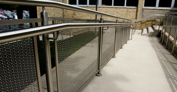 Woven Wire Metal Railings Exterior Architectural Mesh