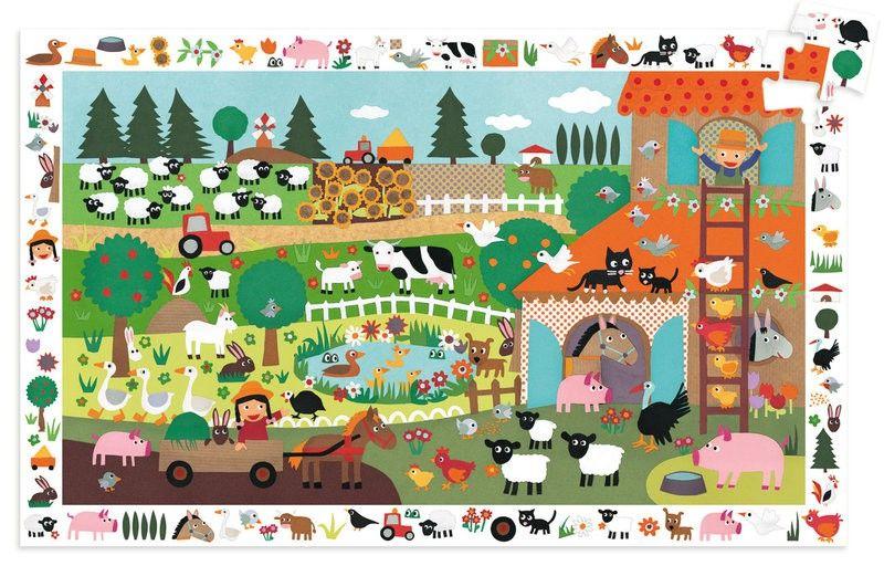 Djeco Suchpuzzle Bauernhof Tiere für Kinder von 3 - 5 Jahren