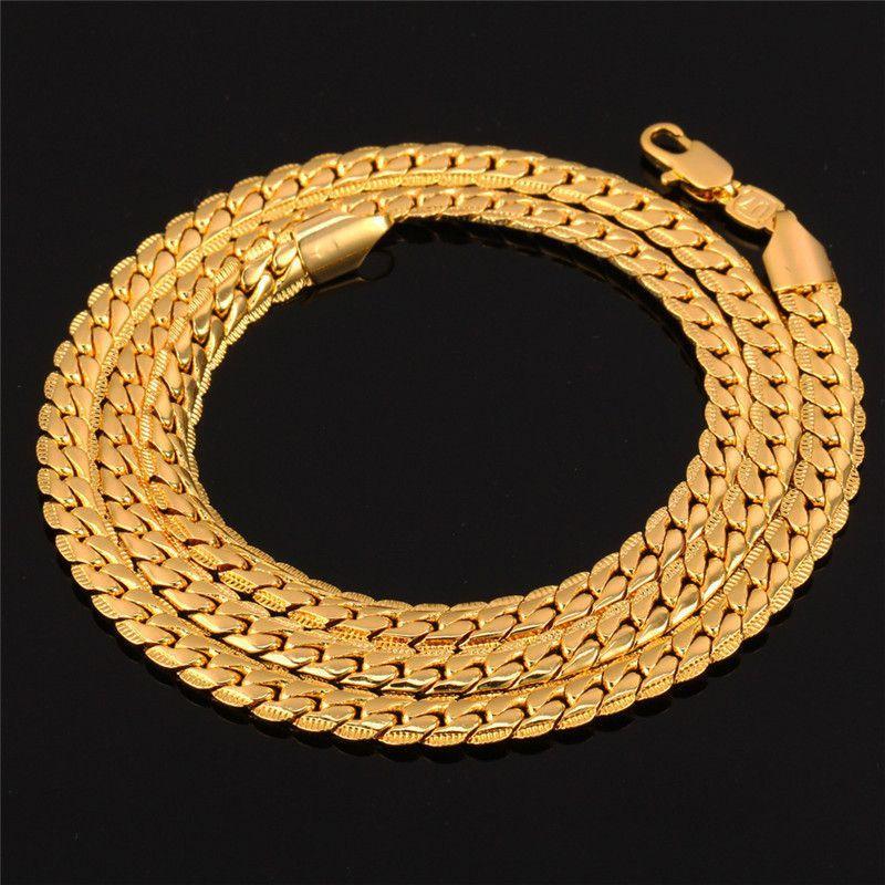 6MM Men Chain 18K GoldRose GoldPlatinumBlack Plated Hiphop Men