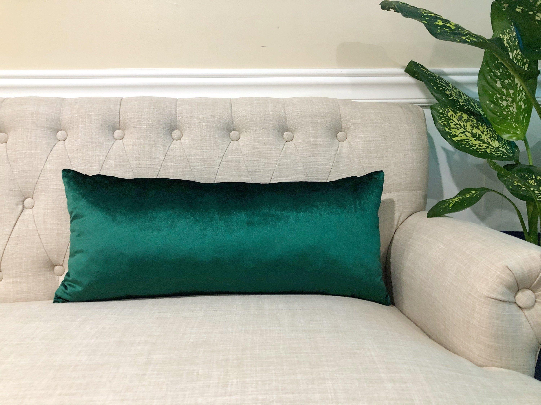 lumbar emerald green velvet pillow
