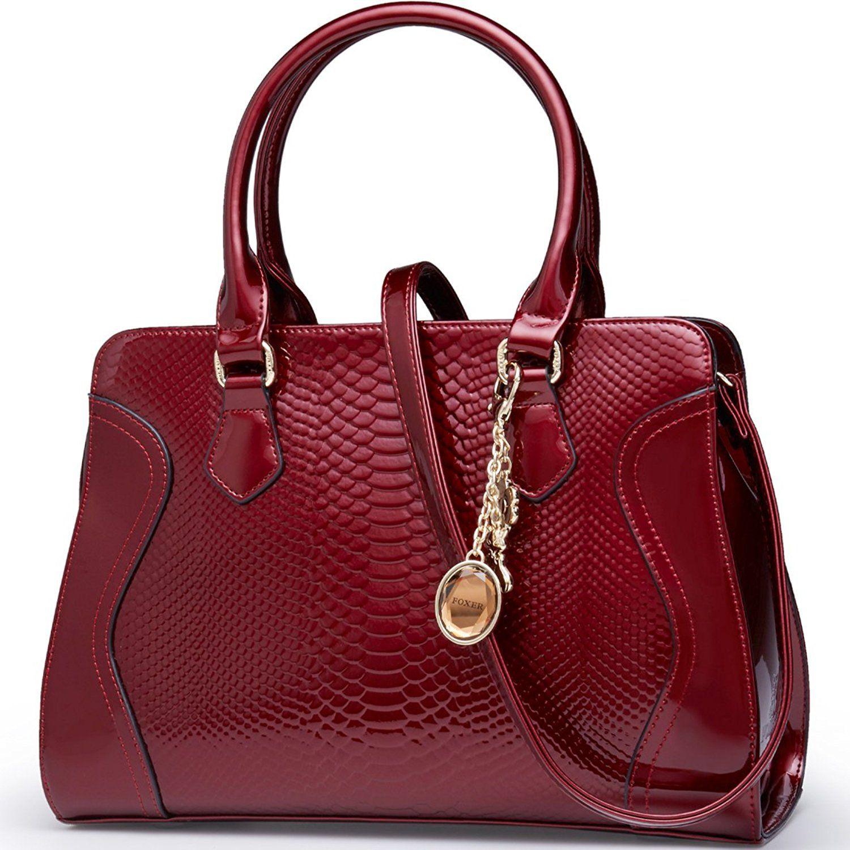 fa475b2583ff FOXER Women Top Handle Tote Purse Patent Leather Satchel Handbag ...