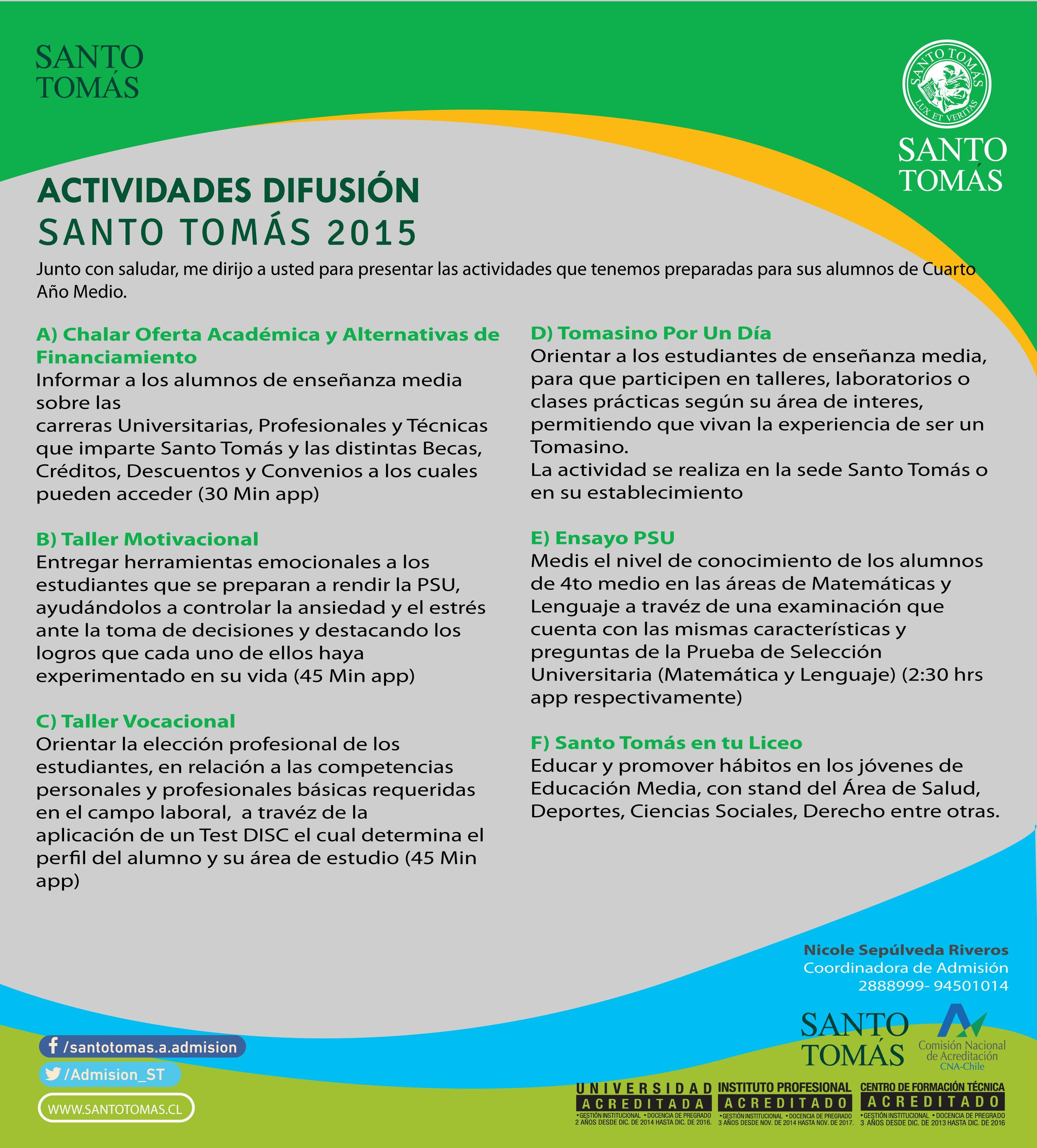 Mailing - Universidad Santo Tomás - Área de admisión - Invitaciones ...