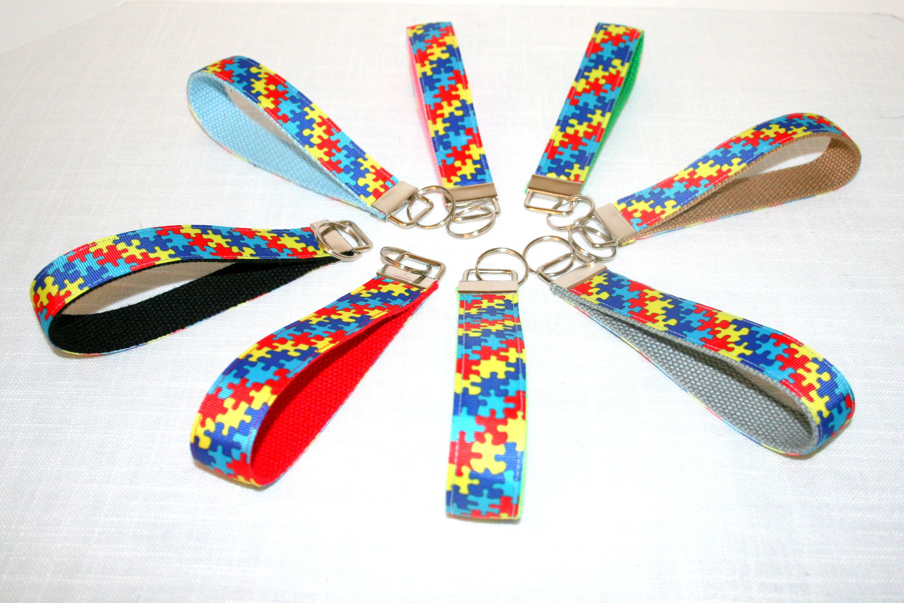 Autism puzzle piece by mee maws bags on key wristlets