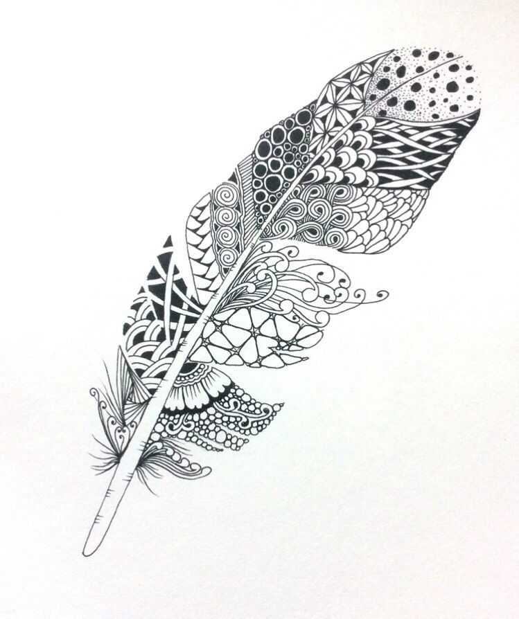 Pin By Patricia Lake On 我的禅绕画 Feather Drawing Feather Art Zentangle Drawings