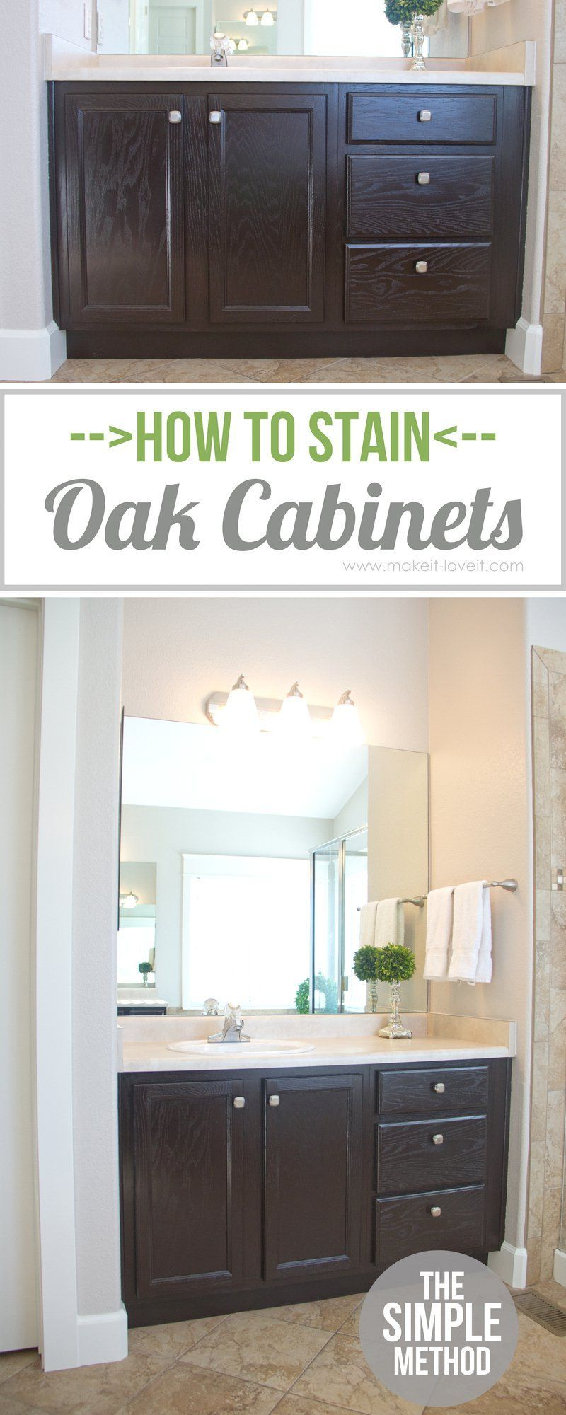 How To Stain Oak Cabinets The Simple Method Without Sanding Staining Cabinets Oak Cabinets Home Diy