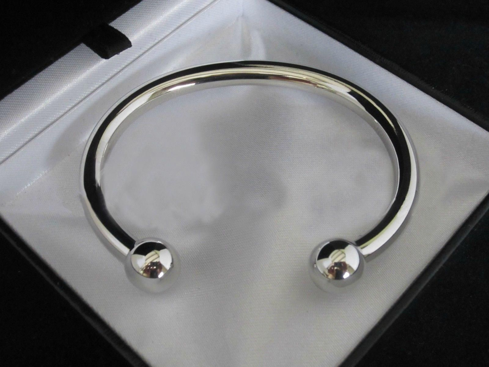 Women S Men S Silver Plated Open Ball End Bangle Charm Bracelet Cuff