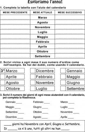 Classe Prima Esploriamo I Mesi Dellanno In Italiano Learning