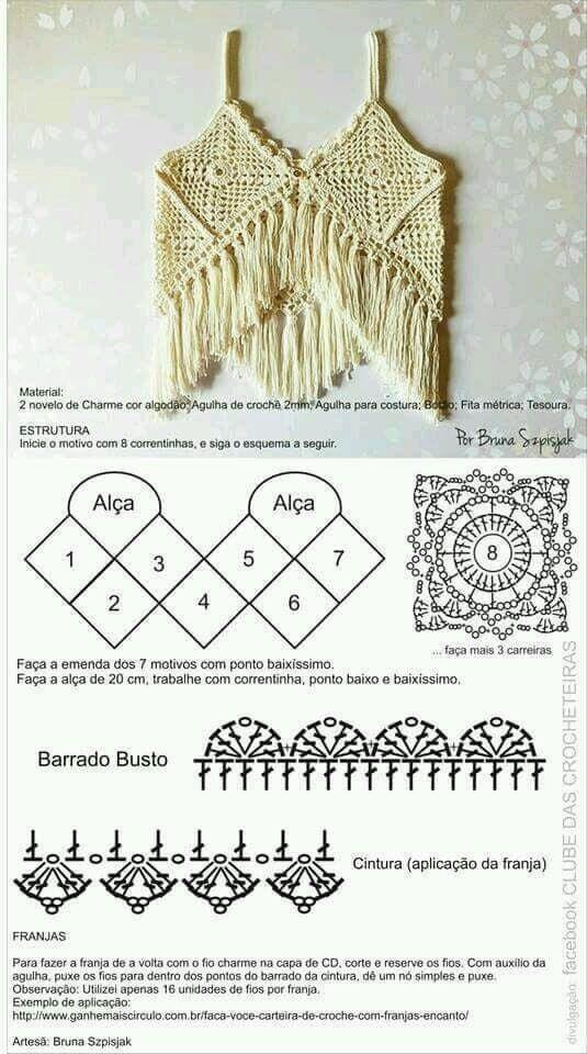 Tops en crochet (Patrones) | crochet | Pinterest | Croché, Ganchillo ...