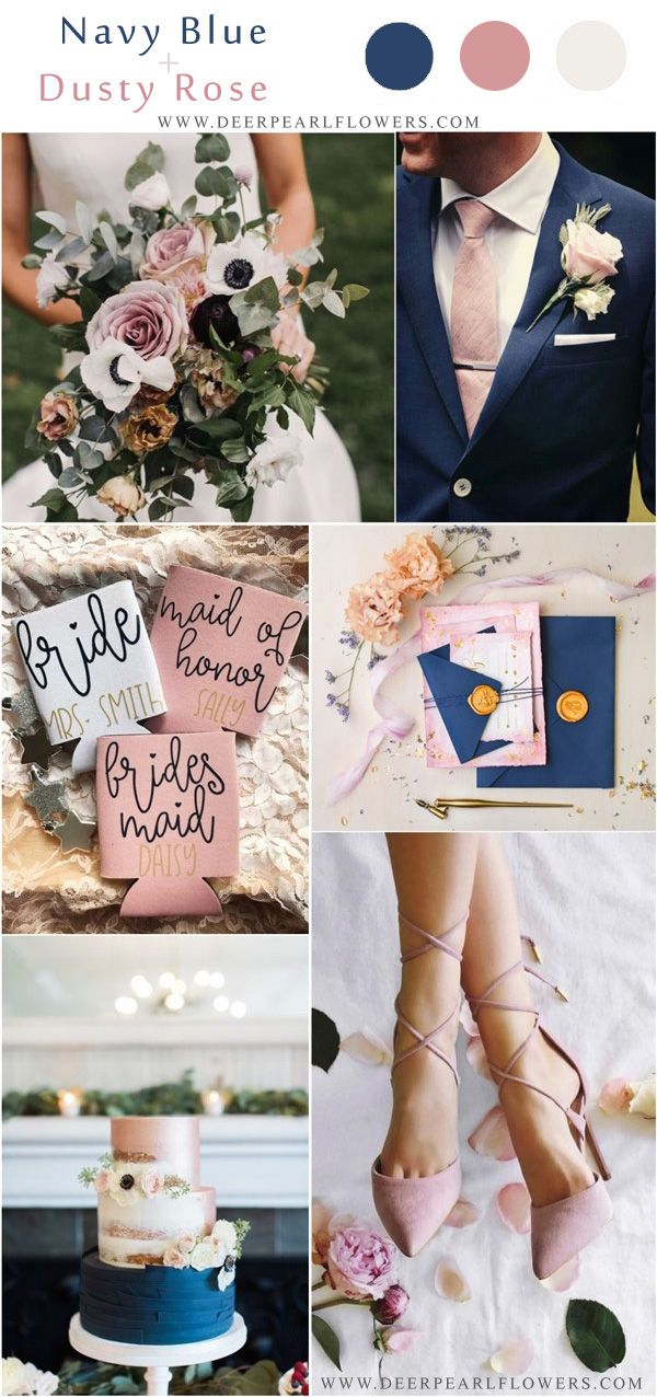 navy blue and dusty rose wedding color ideas #weddings explore Pinterest