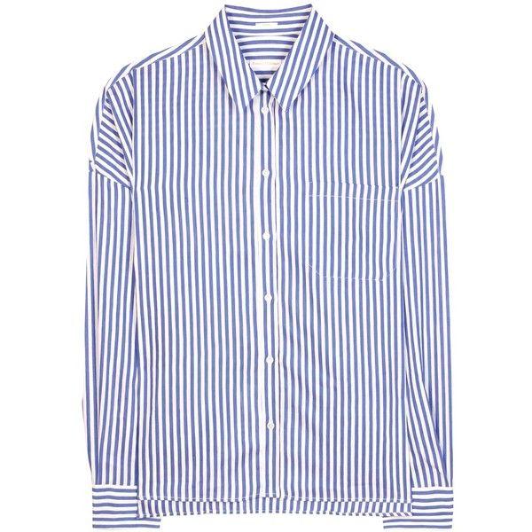 Robert Friedman Clelias Linen, Cotton and Silk Shirt (5.125 CZK) ❤ liked on Polyvore featuring tops, blue, shirt top, linen tops, linen shirt, blue shirt and blue linen shirt