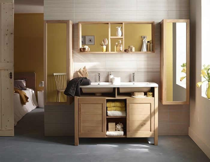 Wandschrank für Badezimmer holz hell spiegel Badezimmer Pinterest - badezimmer wandschrank