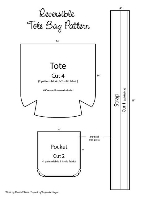 Reversible Tote Bag Pattern | Bolsos, Costura y Bolsos cartera