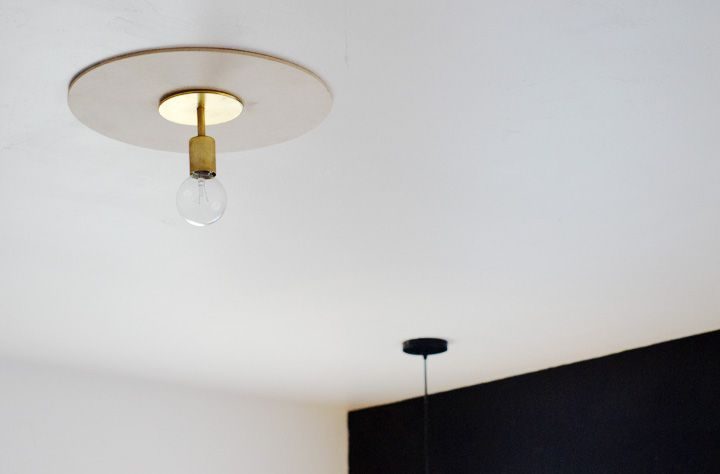"DIY ceiling medallion light fixture: ""modern, minimal"