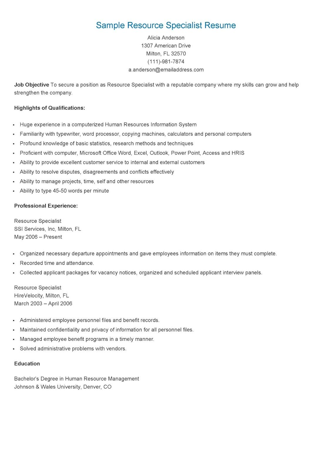 Sample Resource Specialist Resume | resame | Pinterest | Childhood ...