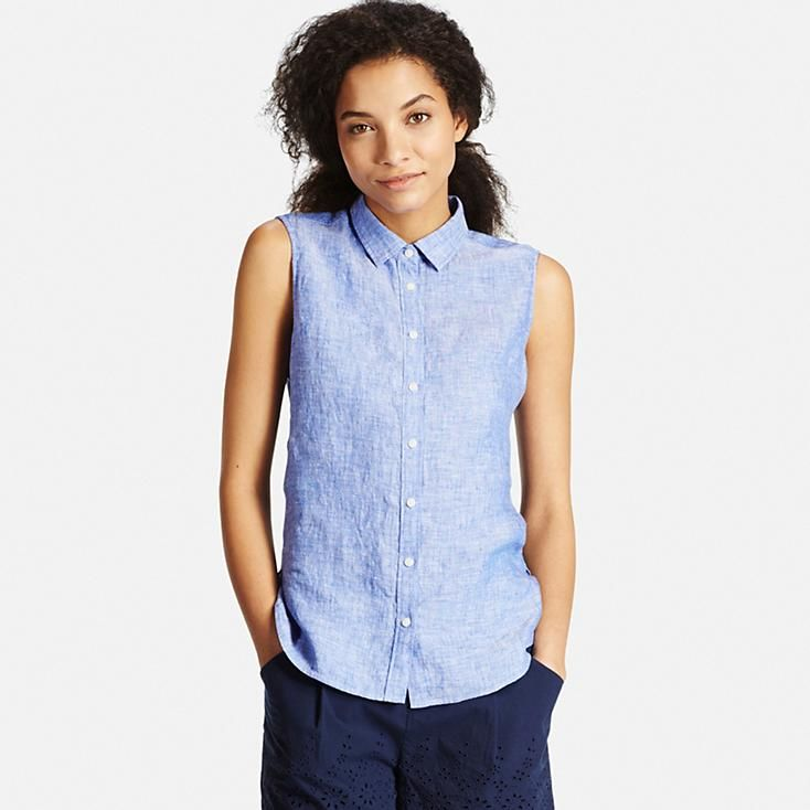 Women premium linen sleeveless shirt uniqlo summer for Uniqlo premium t shirt