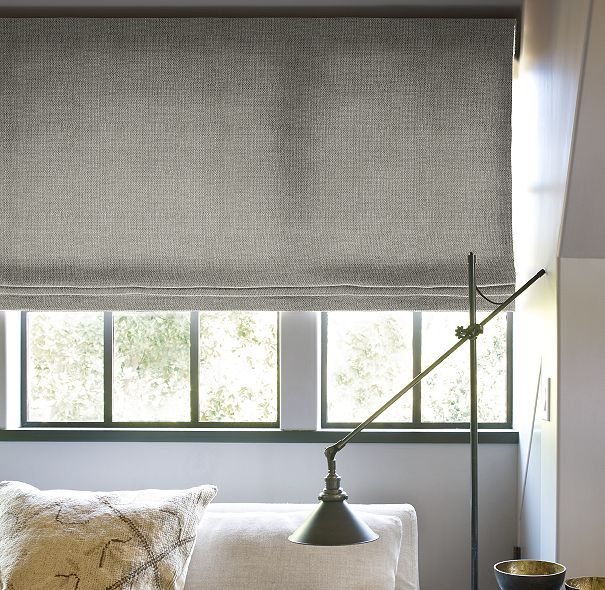 Flat Roman Shade | Custom Shades | Restoration Hardware linen in fog colour: den, master bedroom. WHITE for bathroom and kitchen