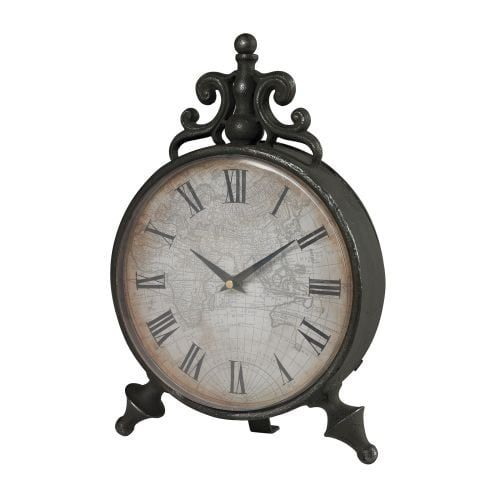 Sterling industries 51 10099 arkle reproduction metal grey desk bring old world inspiration home with this antique style table clock featuring a scrolling finial detail and world map face gumiabroncs Image collections
