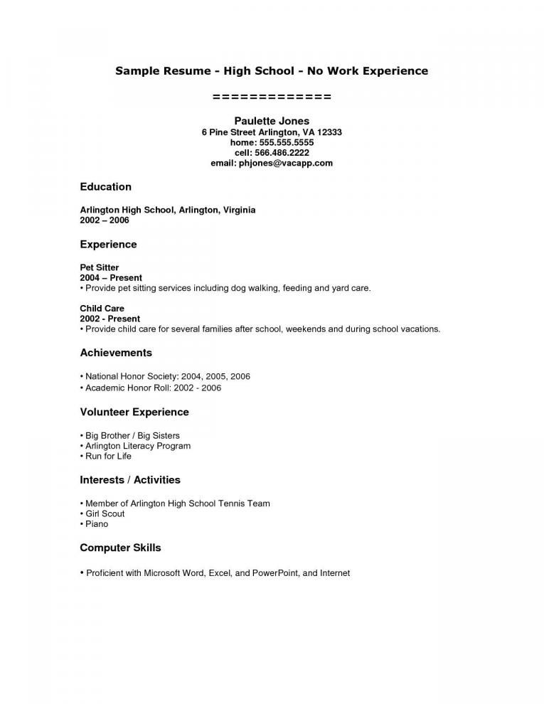 Resume Examples For Freshers With No Work Experience Student Resume Template Student Resume High School Resume