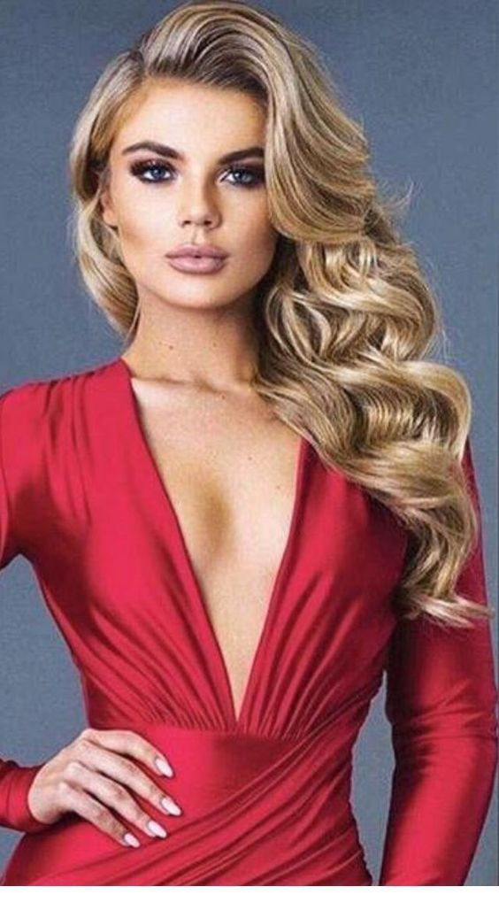 Side blonde curls and a red dress | Prom hairstyles for long hair, Long hair models, Elegant ...