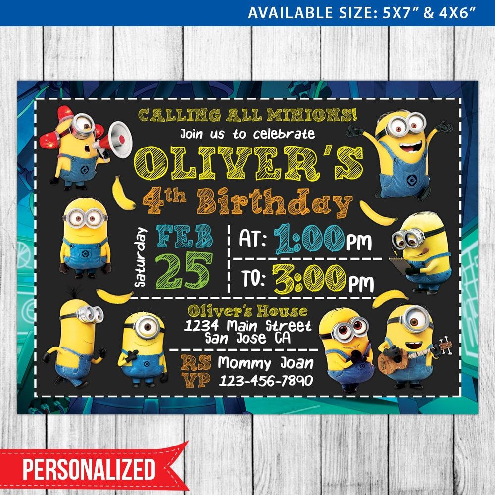 Minion Invitation Minion Birthday Minion Invites Minion Party