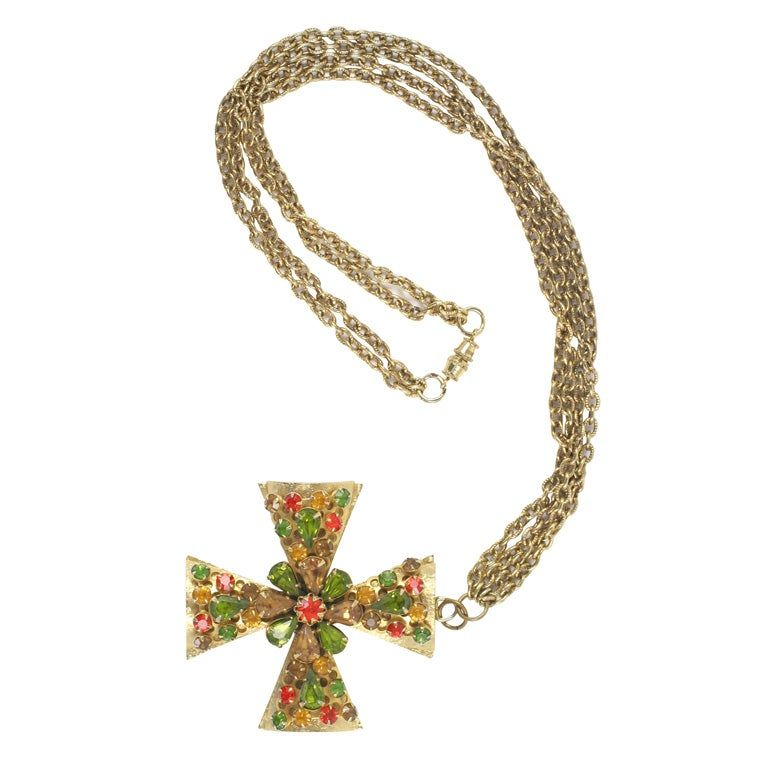 Gold Jeweled Maltese Cross Necklace Costume Jewelry In 2020 Maltese Cross Drop Necklace Jewels