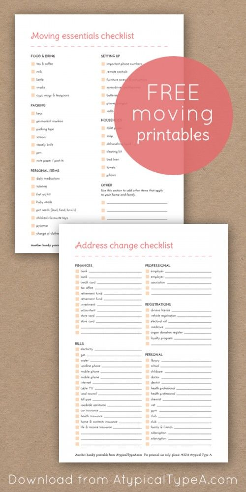 moving house checklists atypical type a wow pinterest