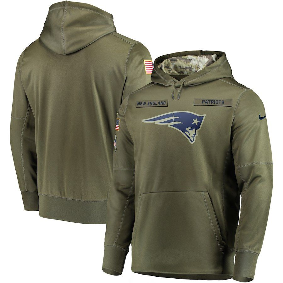 361731d7bd6e70 Men New England Patriots Nike Olive Salute To Service KO Performance Hoodie  Green