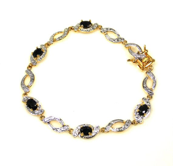 Vintage Gold Over Sterling Silver Black CZ Link Bracelet Chinese Export Delicate