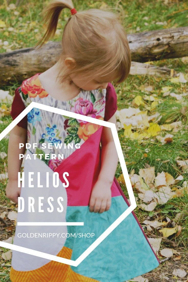 Cute color blocked tent dress for girls! with easy zipper tutorial. Comes in sizes 12m to 12 years. Perfect for toddlers, girls, and pre-teens. Save this Helios pdf  dress sewing pattern! #dress #sewing #girls #pdf