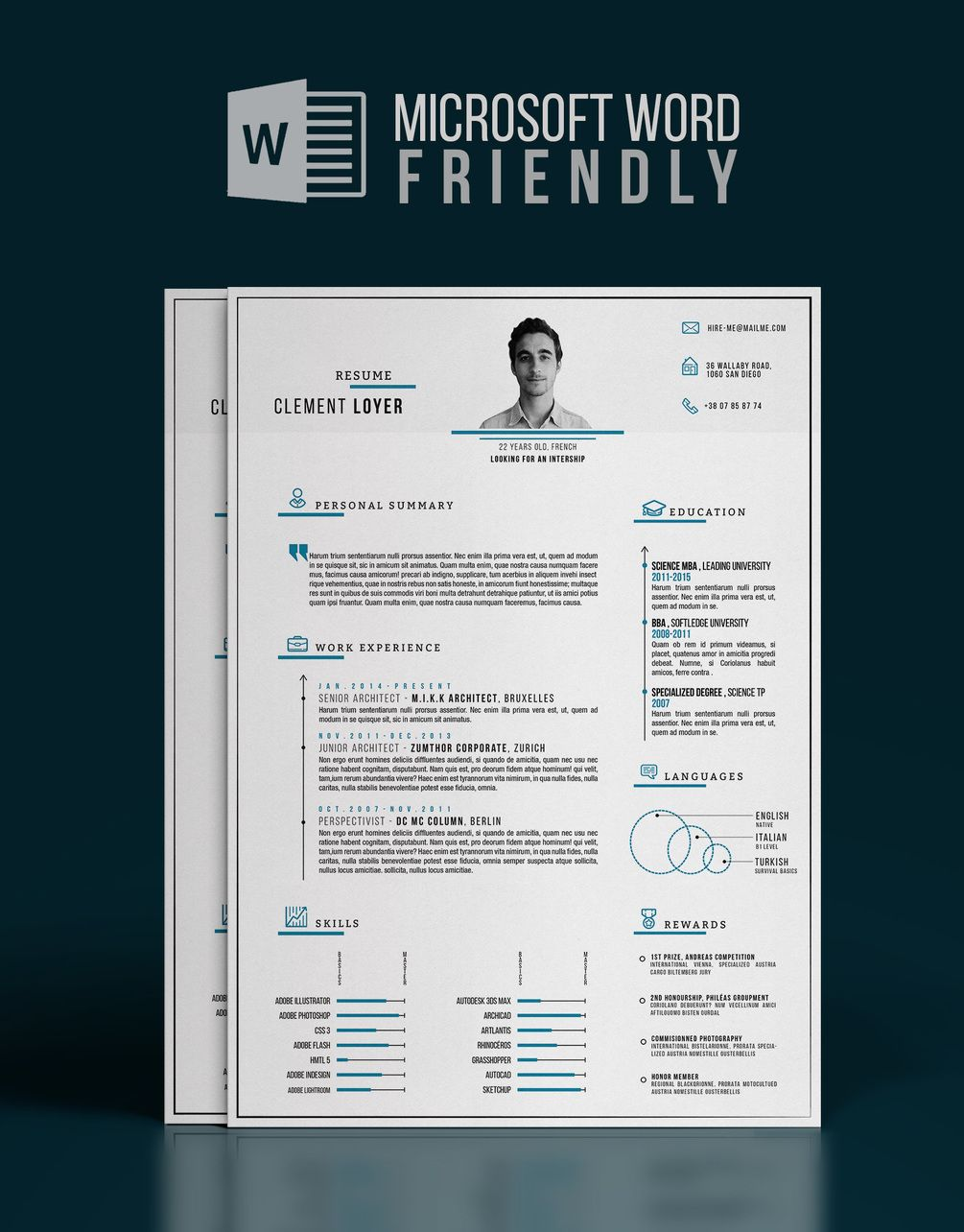 2016 | Word : Precise Blue Resume + Letter | Graphic resume ...